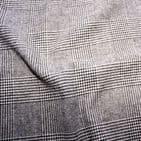 Reversable Wool Mix Dress Fabric  - Prince Of Wales / Houndstooth Grey Check
